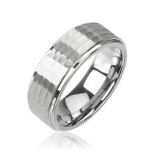 Volframov prstan srebrne barve, brušen vzorec, 8 mm