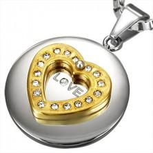 Obesek iz nerjavečega jekla - zlato srce s kamenčki