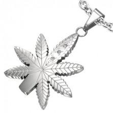 Obesek z marihuaninim listom s kamenčki