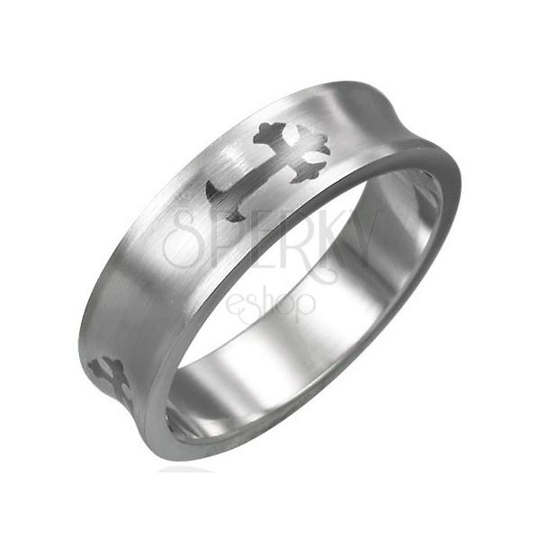 Konkaven prstan iz nerjavečega jekla s križem