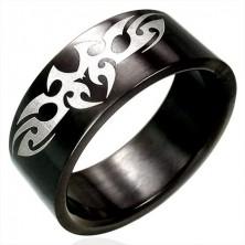 Črn prstan iz nerjavečega jekla s PLEMENSKIM simbolom