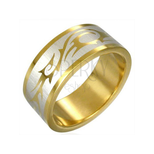 Prstan zlate barve s PLEMENSKIM SIMBOLOM