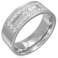 Jeklen prstan z dekoracijo iz kamenčkov