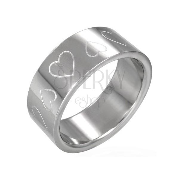 Srčast prstan iz nerjavečega jekla