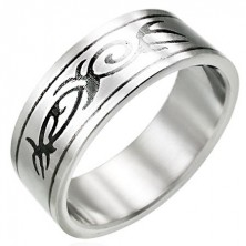 Jeklen prstan s PLEMENSKIM ornamentom
