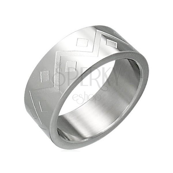 Prstan iz nerjavečega jekla - geometrijski vzorec