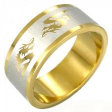 Pozlačen prstan iz jekla s kitajskim zmajem