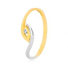 Zlat prstan 375 - nesimetrično ukrivljena konca krakov, lesketajoč cirkon