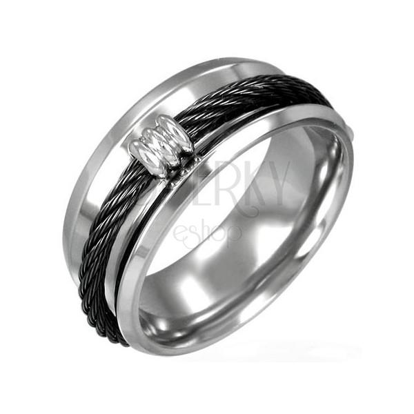 Jeklen prstan s črno zavito žico