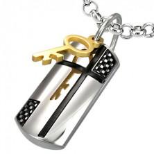 Jeklen obesek z magičnim ključem in križem