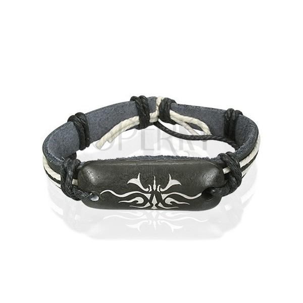 Usnjena zapestnica - črna, plemenski motiv