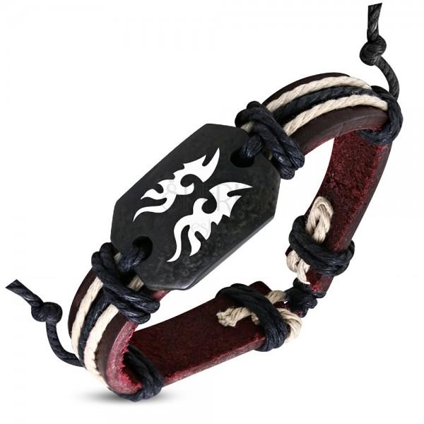 Usnjena zapestnica - rjava, plemenski motiv