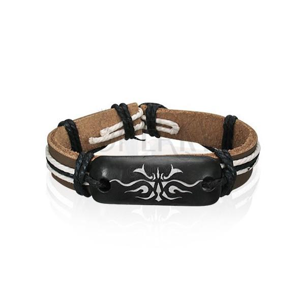 Usnjena zapestnica - rjava, plemenski simbol