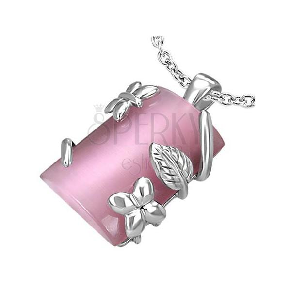 Pravokoten jeklen obesek s cvetličnim ornamentom - roza