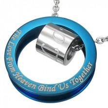 Modro-srebrn obesek iz nerjavečega jekla z romantičnim stavkom