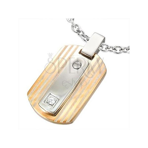 Obesek iz nerjavečega jekla s kamenčkom - bakrena in srebrna barva