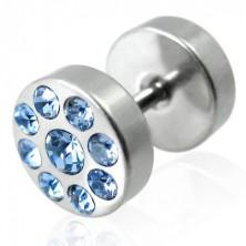 Imitacija vstavka za uho v srebrni barvi s cirkoni barbell motiv