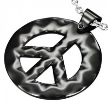 Črn hipijevski obesek iz jekla - znak PEACE