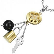 Večbarven jeklen obesek - tabono s ključem in ključavnico