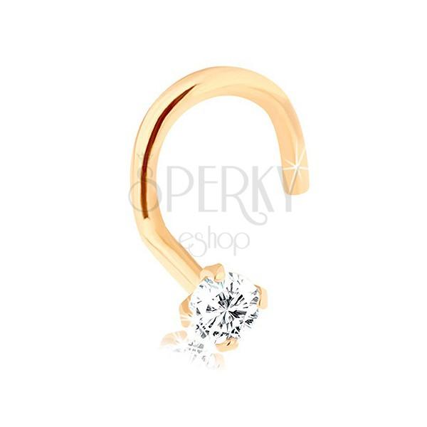 Piercing za nos iz rumenega 14K zlata, zavit - majhen prozoren cirkon