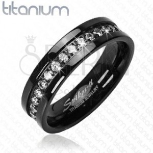 Črn prstan iz titana z vdelanimi cirkoni po celotnem obsegu