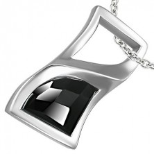 Obesek iz nerjavečega jekla - ukrivljen pravokotnik s črnim kamenčkom