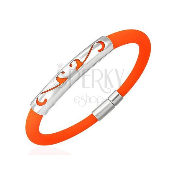 Okrogla gumijasta zapestnica - ornament, oranžna