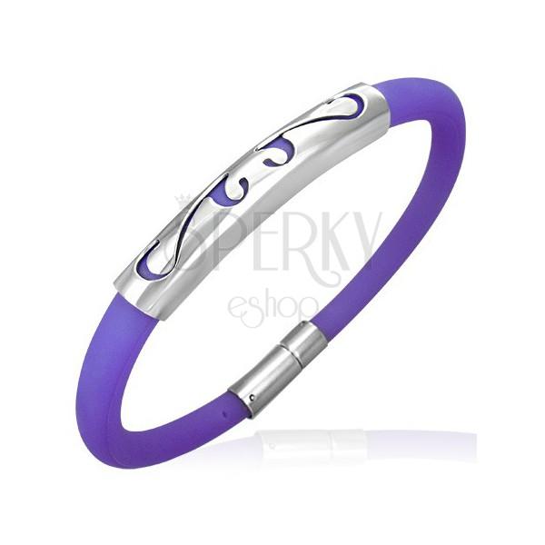 Okrogla gumijasta zapestnica - ornament, vijolična