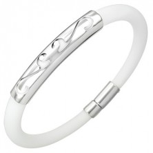 Okrogla gumijasta zapestnica - ornament, bela barva