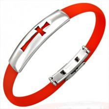 Ploščata gumijasta zapestnica - križ, rdeča