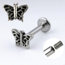 Jeklen podustnični piercing - metulj s krili, okrašenimi z zarezami