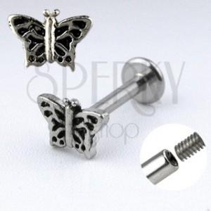 Podustnični piercing z metuljem