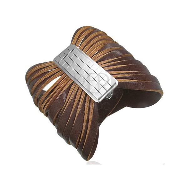 Rjava usnjena zapestnica s saponko - šahovnica