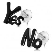 Uhani iz srebra 925, napisa Yes in No, sijoča črna glazura