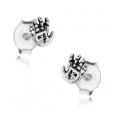 Uhani iz srebra 925, patinasta roka z drobnimi zarezami, čepki