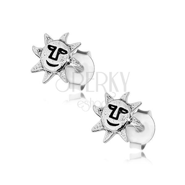 Vtični uhani, srebro 925, smejoče sonce, patinasti detajli