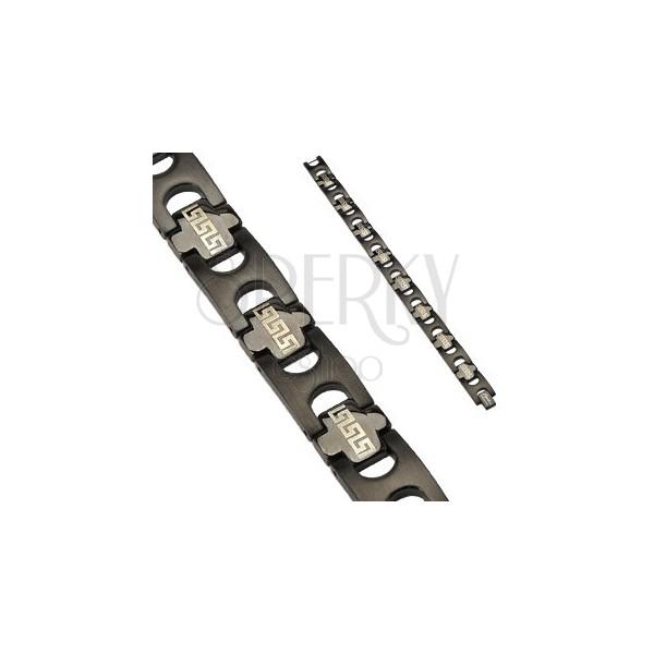Zapestnica s členi s plemenskim vzorcem iz nerjavečega jekla - črne barve