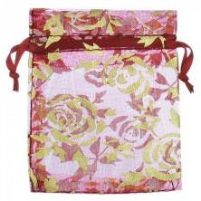 Majhna bordo vrečka z zlatimi rožami
