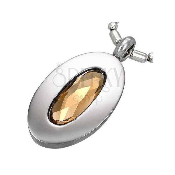 Jeklen obesek, oval z bakrenim kamnom