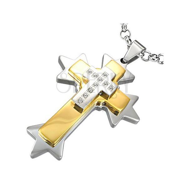 Obesek v obliki križa s konicami iz nerjavečega jekla - dvobarvna kombinacija