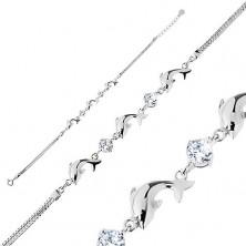 Zapestnica iz srebra 925, dvojna verižica, bleščeči delfini, lesketava prozorna cirkona