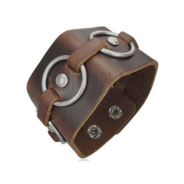 Rjava usnjena zapestnica - kovinski obroči