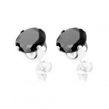 Vtični uhani, srebro 925, okrogel cirkon črne barve, 7 mm