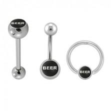 Komplet piercingov za telo - logotip BEER
