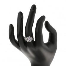 Lesketav prstan z razdeljenima krakoma, svetlo vijolična zrna, prozorni cirkoni