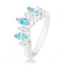 Prstan srebrne barve, svetlo modra in prozorna cirkonska zrna