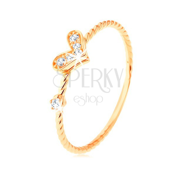 Prstan iz zlata 585, spiralno zvita kraka, lesketavo srce, cirkon