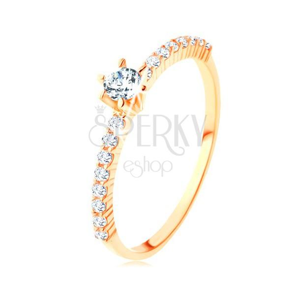 Prstan iz rumenega 14K zlata - prozorni cirkonski liniji, štrleč okrogel cirkon