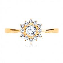 Prstan iz rumenega 14K zlata - prozorno cirkonsko sonce, sijoča ozka kraka
