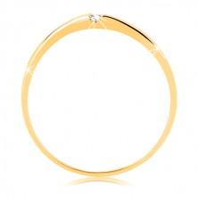 Prstan iz rumenega 14K zlata - gladka vijuga s prozornim cirkonom, cirkonska linija